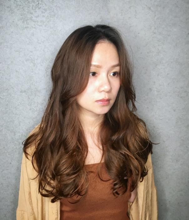長髮 波浪捲髮 暖棕色 染髮